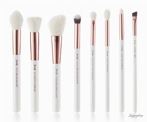 JESSUP - Individual Brushes Set - Zestaw 8 pędzli do makijażu - T218 White/Rose Gold