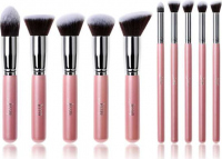 JESSUP - Kabuki Brushes Set - Set of 10 make-up brushes - T068 Pink / Silver