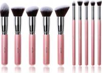 JESSUP - Kabuki Brushes Set - Zestaw 10 pędzli do makijażu - T068 Pink/Silver