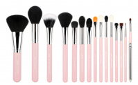 JESSUP - Essential Brushes Set - Set of 15 make-up brushes - T094 Pink / Silver