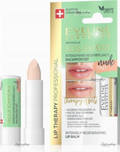 Eveline Cosmetics - LIP THERAPY PROFESSIONAL - S.O.S. EXPERT LIP BALM - Intensywnie regenerujący, koloryzujący balsam do ust - Nude