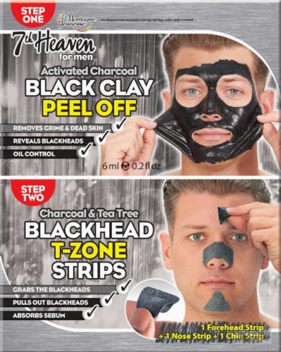 7th Heaven (Montagne Jeunesse) - Men Duo Peel Off - Black Clay + Blackhead T-Zone - Facial cleansing kit for men Peel Off - Black Clay Mask + Blackhead T-Zone patches