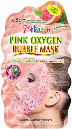 7th Heaven (Montagne Jeunesse) - Pink Oxygen Bubble Mask - Detoksykująca maseczka bąbelkowa do twarzy w płacie