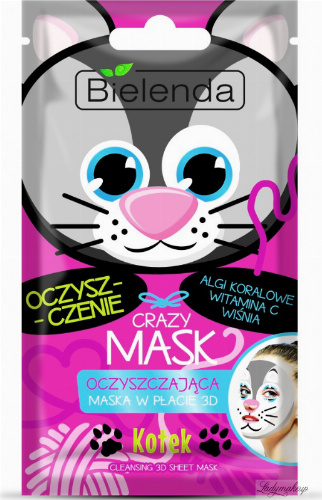 Bielenda - Crazy Mask - Cleansing 3D Sheet Mask - Cleansing 3D mask - Kitty