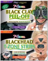 7th Heaven (Montagne Jeunesse) - Duo Peel Off - Black Clay + Blackhead T-Zone Strips - Zestaw do oczyszczania twarzy - Maseczka Black Clay + Plastry do strefy T Blackhead T-Zone Strips