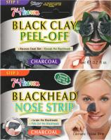 7th Heaven (Montagne Jeunesse) - Duo Peel Off - Black Clay + Blackhead Nose Strip - Zestaw do oczyszczania twarzy - Maseczka Black Clay + Plaster Blackhead Nose Strip