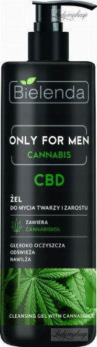 Bielenda - Only For Men - Cannabis - CBD - Cleansing Gel with Cannabidiol - Gel for face and facial hair - 190 g