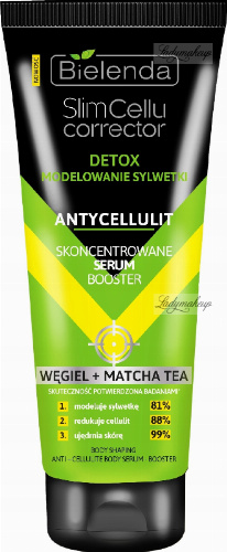 Bielenda - Slim Cellu Corrector - Body Shaping Anti-Cellulite Body Serum-Boster - Detox - Body shaping - Anti-cellulite - Concentrated serum booster - Carbon + Matcha Tea - 250 ml