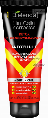 Bielenda - Slim Cellu Corrector - Intensive Slimming Thermo-Activ Anti-Cellulite Body Serum - Detox - Intensive slimming - Anti-cellulite - Concentrated thermoactive serum - Charcoal + Chili - 250 ml