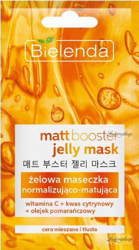 Bielenda - Jelly Mask - Matt Booster - Normalizing and matting gel mask - 8 g
