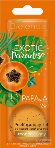 Bielelda - Exotic Paradise - 2in1 Regenerating Bath and Shower Gel with Body Scrub - Peeling bath and shower gel - Regenerating - Papaya - 25g