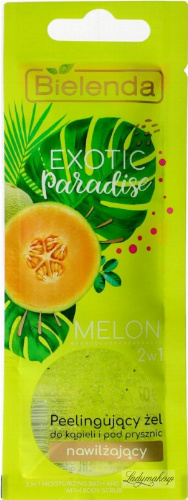 Bielenda - Exotic Paradise - 2in1 Moisturizing Bath and Shower Gel with Body Scrub - Peeling bath and shower gel - Moisturizing - Melon - 25g