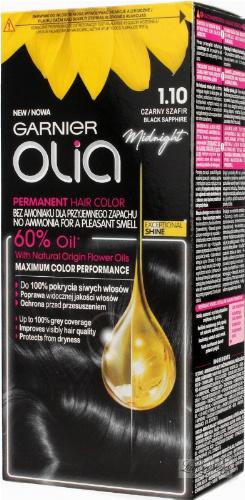 GARNIER- OLIA PERMANENT HAIR COLOR - 1.10 BLACK SAPPHIRE - Farba do włosów - Trwała koloryzacja - Czarny szafir