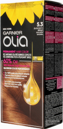 GARNIER- OLIA PERMANENT HAIR COLOR - 5.3 GOLDEN BROWN - Farba do włosów - Trwała koloryzacja - Złocisty brąz