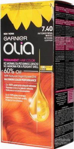 GARNIER- OLIA PERMANENT HAIR COLOR - 7.40 INTENSE COPPER - Farba do włosów - Trwała koloryzacja - Intensywna miedź