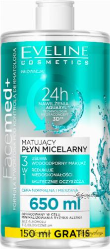 Eveline Cosmetics - FaceMed + Matujący płyn micelarny 3w1 do cery normalnej, mieszanej i tłustej - 650ml