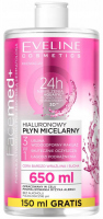 EVELINE - FaceMed + 24h Moisturizing Aquaxyl - Hydrakoncept 3D technology - 3in1 hyaluronic micellar fluid - 650 ml