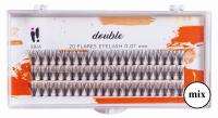 Ibra - ,,DOUBLE'' FLARES EYELASH - KNOT-FREE - Kępki sztucznych rzęs o podwójnej objętości - MIX (8 mm, 10 mm, 12 mm) - MIX (8 mm, 10 mm, 12 mm)