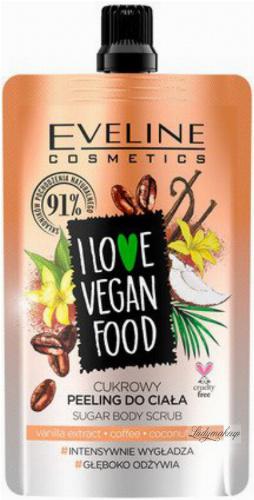 EVELINE - I LOVE VEGAN FOOD - VANILLA LATTE SUGAR BODY SCRUB - Cukrowy peeling do ciała - KAWA WANILIOWA - 75 ml