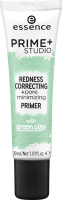 Essence - PRIME + STUDIO - Redness Correcting + Pore Minimizing Primer - Makeup base reducing redness with green clay - 30 ml