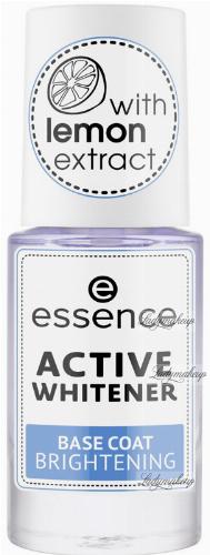 Essence - ACTIVE WHITENER BASE COAT - Odżywka / baza wybielająca do paznokci z ekstraktem z cytryny - 8 ml
