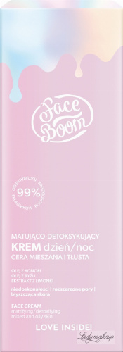 BodyBoom ​​- Face Boom - FACE CREAM - Mattifying and detoxifying cream for combination and oily skin - Day and Night - 50 ml