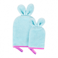 GLOV - Kids - FACE AND BODY WASH GLOVES FOR KIDS - Set of 2 gloves for care for mother and child - Party Pink
