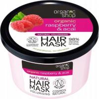ORGANIC SHOP - Natural Volumising Hair Mask - Vibrant Raspberry & Acai - Maska do włosów zwiększająca objętość - Malina i jagody - 250 ml