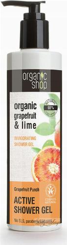 ORGANIC SHOP - ACTIVE INVIGORATING SHOWER GEL - Aktywnie odżywiający żel pod prysznic z grejpfrutem i limonką - Grapefruit Punch - 280 ml