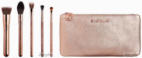 Sigma® - ICONIC BRUSH SET - 5 ROSE GOLD BRUSHES + BEAUTY BAG - Set of 5 make-up brushes + cosmetic bag