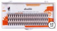 Ibra - DOUBLE FLARES EYELASH - KNOT-FREE - Double volume eyelash tufts  - 12 mm - 12 mm