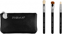 Sigma® - GLAM 'N GO MINI EYE BRUSH SET - Set of 3 MINI eye make-up brushes + cosmetic bag