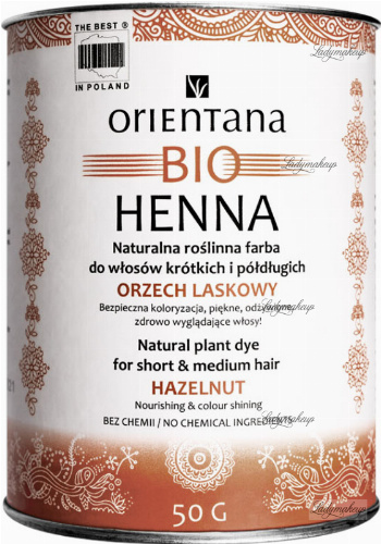 ORIENTANA - BIO HENNA - 100% Naturalna roślinna farba do włosów krótkich i półdługich - Orzech Laskowy - 50 g