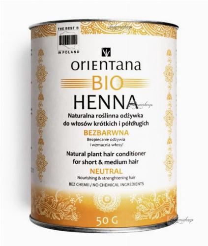ORIENTANA - BIO HENNA - Naturalna roślinna odżywka do włosów krótkich i półdługich - Bezbarwna - 50g
