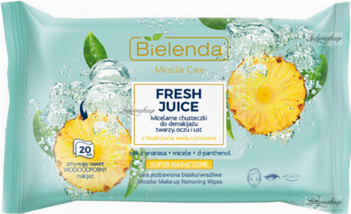 Bielenda - Micellar Care - Fresh Juice - Micellar cleansing wipes for face, eyes and lips with bioactive citrus water - 20 pcs - Pineapple