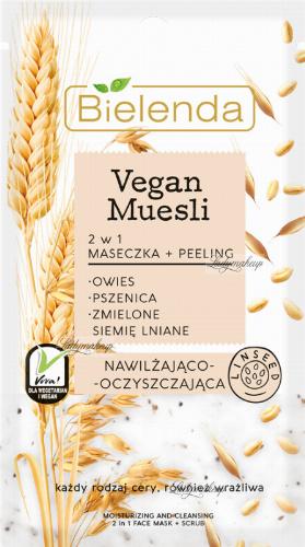 Bielenda - Vegan Muesli - Moisturizing and Cleansing 2in1 Face Mask + Scrub - Moisturizing and cleansing peeling mask - 8g