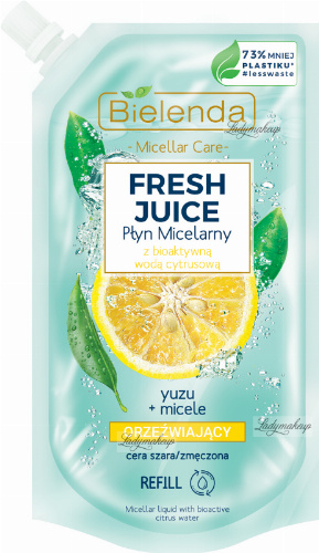 Bielenda - Micellar Care - Fresh Juice - Refreshing micellar fluid for gray and tired skin - Yuzu - INSERT - 500 ml