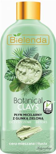 Bielenda - Botanical Clays - Vegan Micellar Liquid - Cleansing micellar fluid with green clay - Mixed and oily skin - 500 ml