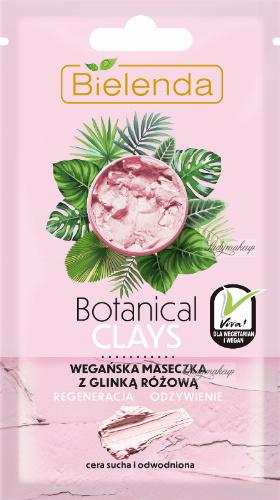 Bielenda - Botanical Clays - Vegan Face Mask - Wegańska maseczka z różową glinką - Cera sucha i odwodniona - 8 g