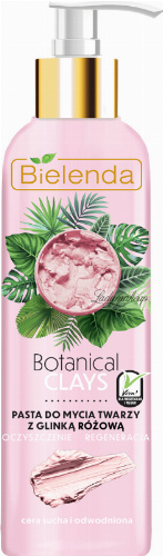 Bielenda - Botanical Clays - Vegan Face Cleansing Paste - Face wash paste with pink clay - Dry and dehydrated skin - 215 g