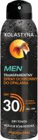 KOLASTYNA - MEN - Transparentny spray ochronny do opalania -  SPF30 - 150 ml